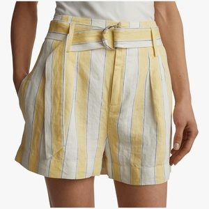 Frame Linen Golden Haze Stripe Short
